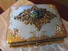 Robins Egg Blue Porcelain Dresser Box w Ornate by GiltyGirlVintage on Etsy, $125.00