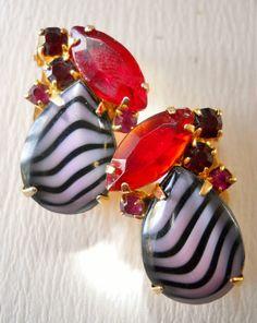 D Juliana Earrings Red Rhinestone Purple Striped by LakeBreezes, $38.50