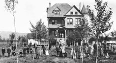 """Twin Bridges, Montana; Children pose in front of """"the Castle"""" in 1896, three years after the Montana State Orphanage was built. Many of them were not true orphans, but from destitute families whose parents could not care for them."""