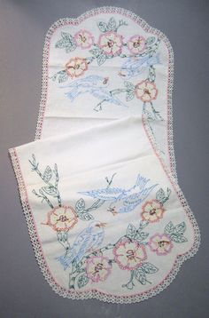 "arts and crafts embroidery on linen bluebirds and flowers runner 57x17"". $34.99"