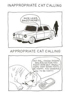 Inappropriate Cat Calling vs. Appropriate Cat Calling.