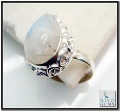 Rainbow Moonstone Silver Ring Riyo Gems www.riyogems.com