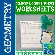 FREE Volume of Cylinders, Cones and Spheres Worksheets Middle School, High School, 2d And 3d Shapes, 8th Grade Math, Algebra 1, Secondary School, Elementary Math, 5th Grades, Maths
