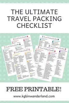 FREE PRINTABLE: Ultimate Travel Packing Checklist via @kgbinwanderland #travelplanning #freeprintable #packinglist Business Trip Packing, Travel Packing Checklist, Packing For A Cruise, Packing Tips, Business Travel, Travel Essentials, Travel Tips, Travel Hacks, Europe Packing