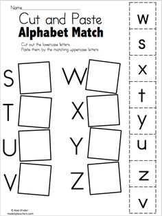 Alphabet Match S to Z - Free Worksheets Cut and paste the matching uppercase and lowercase letters. More Alphabet Match Worksheets Alphabet Match I to… Preschool Letters, Letter Activities, Preschool Learning Activities, Preschool Lessons, Learning Letters, Teaching Resources, Pre K Worksheets, Kindergarten Addition Worksheets, Matching Worksheets
