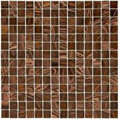 Merola Tile Coppa 12 in. x 12 in. Brown Gold Glass Mesh-Mounted Mosaic Tile
