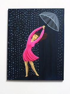 Rain painting 16x20 inch original acrylic painting on by liatib, $230.00