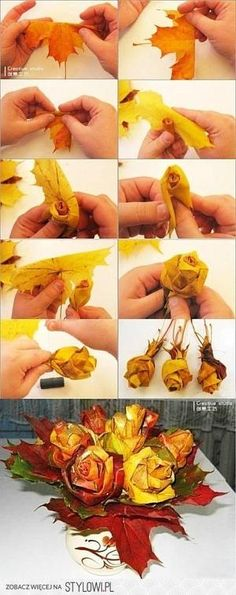 8 Fun and Easy DIY Fall Wedding Decoration Ideas & www.deerpearlflow& The post 8 Fun and Easy DIY Fall Wedding Decoration Ideas appeared first on Dekoration. Leaf Crafts, Fall Crafts, Holiday Crafts, Diy Crafts, Fall Leaves Crafts, Creative Crafts, Leaf Flowers, Diy Flowers, Paper Flowers