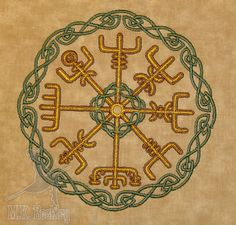 https://www.etsy.com/listing/101134505/vegvisir-embroideried-quilt-block  Vegvísir‎ - Viking compass. This one has some nice Celtic-style knot work around.