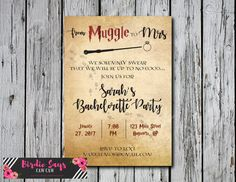 Custom DIY Harry Potter Bachelorette Party by BirdieSaysCawCaw Custom DIY Harry Potter Bachelorette Party Invitation Bridal Shower Baby Shower Wedding Invitation DIY Print at home Wizard muggle to mrs