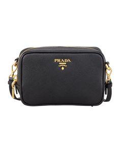Saffiano Mini Zip Crossbody Bag, Black by Prada at Neiman Marcus.