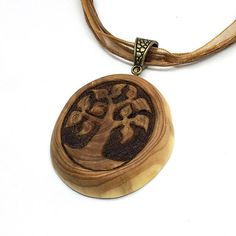Tree Of Life Pendant - Hand carved juniper wooden pendant with pyrography FOR SALE in my Etsy shop!