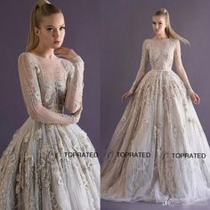 Let charming wedding dresses princess on DHgate.com get your heart. Besides, medieval wedding dresses and mature wedding dresses are also winners.  2015 Ball Gown Wedding Dresses Bridal Dress Sheer Neckline Long Sleeves Beads Crystals Appliques Tulle Transparent Paolo Sebastian belong to you and toprated can cheer you up.