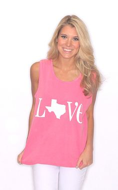 Riffraff | Love Texas Comfort Colors Tank - washed raspberry