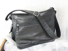 Fossil Black Leather Nylon Crossbody Organizer Messenger Mens Womens Handbag