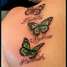 36 New Ideas tattoo arm vrouw naam - Tattoos for kids - Tattoos With Kids Names, Family Tattoos, Tattoos For Daughters, Tattoos For Women, Butterfly Tattoos With Names, Realistic Butterfly Tattoo, Butterfly Tattoo Cover Up, Butterfly Tattoo Designs, Purple Butterfly Tattoo