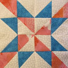 "12"" x 12"" free quilt block pattern  Star Quilt Block of the Month #19"