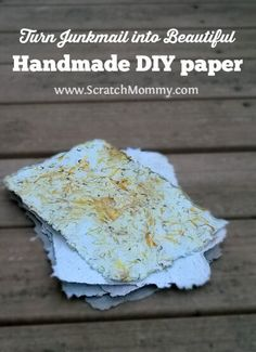 Wondering what to make with all of your junk mail? Create beautiful DIY Handmade Paper for one of a kind cards, stationary & gift wrap.
