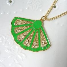 `Hand Held Fan` Necklace Fluorescent Green - One Size Hand Held Fan, Fans, Pendant Necklace, Christmas Ornaments, Holiday Decor, Green, Stuff To Buy, Jewelry, Jewlery
