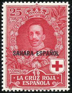 "Spanish Sahara 1926 Scott B5 25c deep carmine ""Alfonso XIII"" Red Cross Issue Types of Semi-Postal Stamps of Spain, 1926, Overprinted"