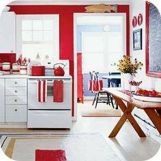 Red Kitchen Decorating Ideas And White Modern Design