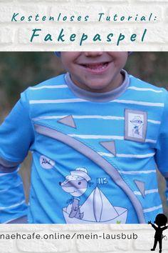 Ready – steady – tüddeln: Fakepaspeln sind einfach ein Eyecatcher. Damit ganz du ganz schnell richtig coole Shirts für deinen Jungen zaubern. Im kostenlosen Tutorial von Anna von Moldüser erfährst du in einer bebilderten Anleitung worauf du achten musst. Schnitt: Ivo von Mein Lausbub – Schnittmuster für Jungs Anna, Cool Shirts, Boys, Tops, Sewing Patterns