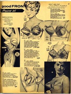 vintage Fredericks of Hollywood bras, onward and upward! At least no one will get to close in a crowded elevator. Lingerie Vintage, Vintage Bra, Vintage Underwear, Mode Vintage, Retro Vintage, Vintage Girdle, White Lingerie, Retro Ads, Vintage Pearls