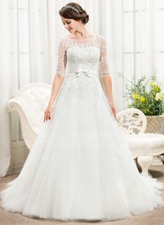 A-Line/Princess Off-the-Shoulder Chapel Train Satin Tulle Lace Wedding Dress With Beading Sequins Bow(s) (002056466) - JenJenHouse