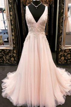 Unique v neck tulle lace applique long prom dress, pink evening dress