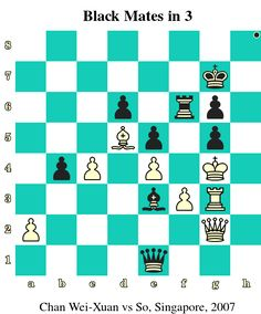 Black Mates in 3. Chan Wei-Xuan vs So, Singapore, 2007 www.chess-and-strategy.com #echecs #chess #schach #ajedrez