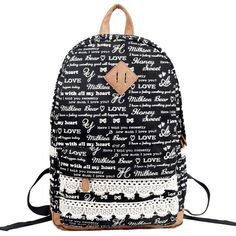 Love Letter Printed Black Canvas Backpack with Lace Detail 0627014