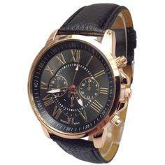 Geneva Cuero Romana Reloj Tres De Seis Pines-Negro