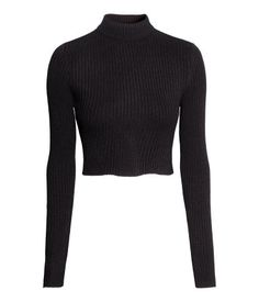 H&M Cropped polo-neck jumper Jumper Shirt, Turtleneck Shirt, Black Turtleneck, Crop Shirt, Black Jumper, Pretty Outfits, Fall Outfits, Casual Outfits, Fashion Outfits