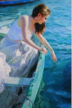 blue - boat with woman - sea - figurative painting - Vladimir volegov Paintings I Love, Beautiful Paintings, Figure Painting, Painting & Drawing, Vladimir Volegov, Foto Art, Pics Art, Figurative Art, Oeuvre D'art