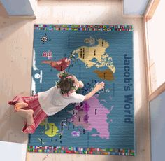 World Map For Kids – Rugs – Blue with Flags | Fun Maps For Kids $100+