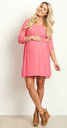 Style your bump in this season's most fabulously flattering chiffon maternity dress. A pretty hue gives you the perfect piece for you to dress up for any occasion this year. Day or night, you can never go wrong with a versatile dress like this. Style this with heels and a statement necklace for a gorgeous ensemble.