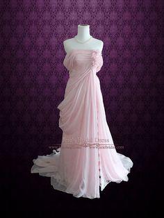 Blush Pink Ethereal Grecian Goddess Off Shoulder Evening Prom Dress | Ieie's Bridal Wedding Dress Boutique