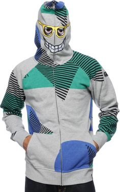 Keep yourself warm in a unique style with the Vacation Full Zip face mask hoodie from Volcom featuring randomly placed geometric color blocks and stripes, and Zip Face, Zip Up Hoodies, Full Face, Full Zip Hoodie, Zip Ups, Grey, Style, Products, Fashion