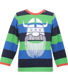 Danefæ mooi groen/blauw gestreepte t-shirt met grote Erik. danefae.nl.emilea.be