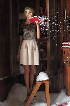 One of my favorite catalog shots from Anthropologie: Sine's Blushing Faille Dress + Pencey's Floating Lace Blouse.