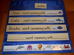 Pocket chart stories - great idea to include your child's name