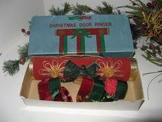 Vintage Santa Creation CHRISTMAS DOOR RINGER 3 Brassed Bells*Japan IOB SCARCE
