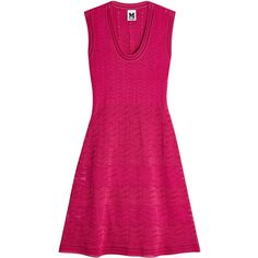 M Missoni Knit Dress (€589) ❤ liked on Polyvore featuring dresses, magenta, scoop neck dress, knit dress, m missoni dress, raspberry dress and magenta dress