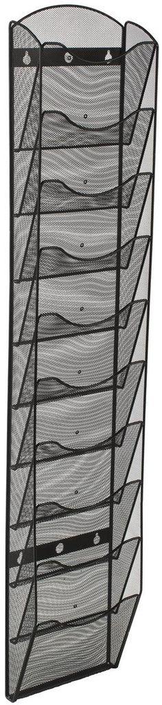 Displays2go Wall Mount Literature Rack Organizer, 10 Pockets, Black Steel Mesh (MSHWL10BK)