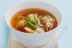 Slow cooker chicken wonton soup.Spiced chicken wontons are delicious addition to this Chinese soup.