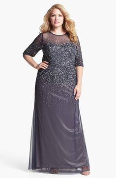 Adrianna Papell Beaded Illusion Gown (Plus Size) available at #Nordstrom Mother of the Bride Dress. Its beautiful, but may be a little flashy, don't want to be upstaged by my mom!