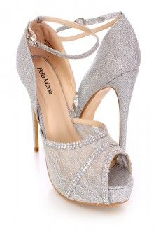 Silver Rhinestone Lace Peep Toe High Heels Shimmer Fabric