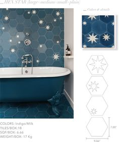 The Design Edit: 10 Gorgeous Room-Transforming Tiles - Home: Living color Bad Inspiration, Bathroom Inspiration, Blue Kitchen Decor, Bathroom Renos, Tile Bathrooms, Home And Deco, Bath Remodel, Cheap Home Decor, Home Remodeling
