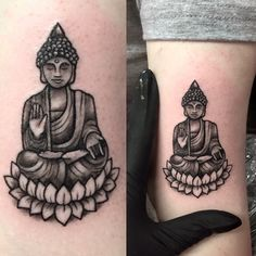 Small Buddha tattoo by Tess at Divine Ink Tattoo