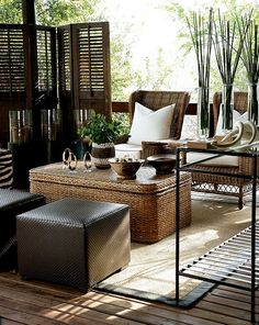 Yvonne O'Brien: This elegant, neutral tone outdoor sitting room is finished out with woven furniture & tribal inspired accessories - West Indies style West Indies Decor, West Indies Style, African Interior, African Home Decor, Outdoor Rooms, Outdoor Living, Outdoor Kitchens, Indoor Outdoor, Living Haus